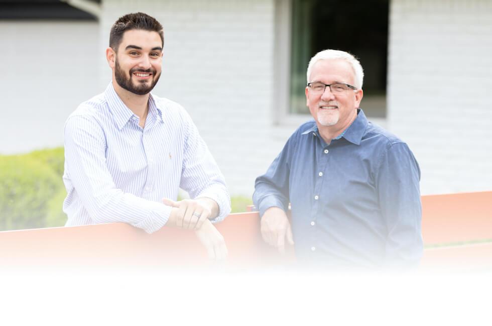 Dr. Nicholas Kitcoff and Dr. Wayne Kinney standing outside